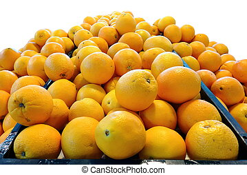 Navel Orange, Group of Friut isolated white background