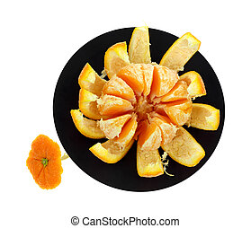 Navel Orange Peeled Black Trivet - A large peeled navel...