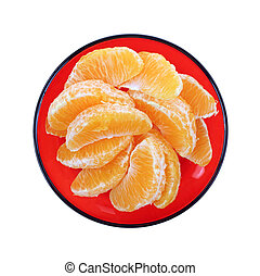 Navel Orange Slices Red Plate - Looking down at navel orange...