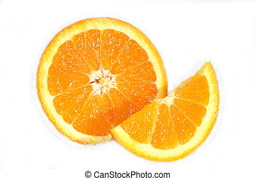 Navel Orange Slices - Slices of a Navel orange isolated on...