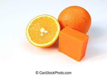Navel orange soap - Orange soap with fresh navel orange on...