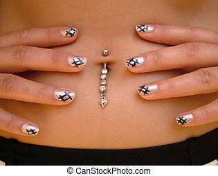 Navel piercing & Nail Polish - Interesting navel piercing...