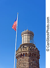 Navesink Twin Lights and flag at Sandy Hook in NJ - Light...