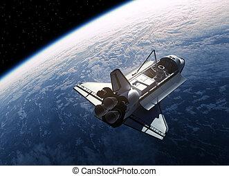 navetta, orbitare, spazio, terra
