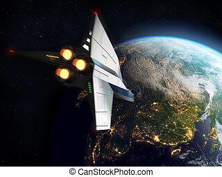 navetta spaziale, orbitare, earth., elementi, di, questo, immagine, ammobiliato, vicino, nasa.