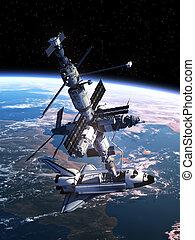 navetta, stazione, docking, spazio