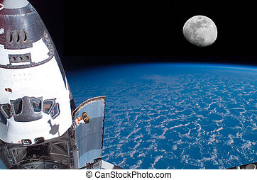 navette, espace, lune