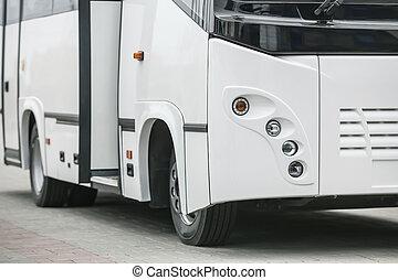 navette, ouvert, blanc, porte, autobus