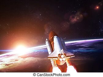 navette, partir, mission, espace
