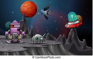 navettes, planète, espace, robot, débarqué