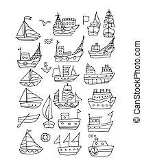 navi, schizzo, progetto serie, tuo