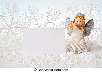 navidad, ángel, aislado, blanco, plano de fondo