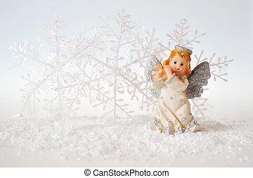 navidad, ángel, blanco, plano de fondo