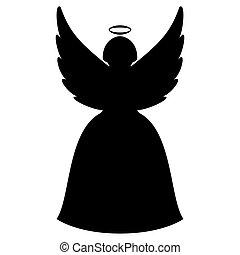 navidad, ángel, silueta