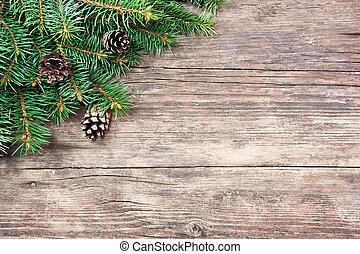 navidad, árbol abeto, en, un, de madera, plano de fondo