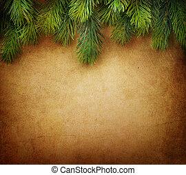 navidad, árbol abeto, frontera, encima, vendimia, plano de...
