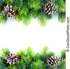 navidad, árbol abeto, frontera