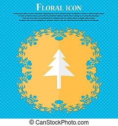navidad, árbol., floral, plano, diseño, en, un, azul, resumen, plano de fondo, con, lugar, para, su, text., vector
