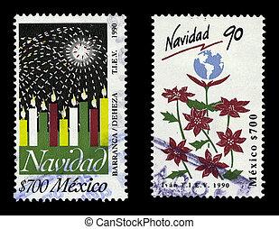 navidad, 1990, mexico, kaarsjes, poinsettias, postzegels