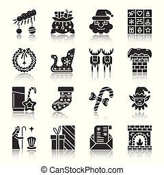 navidad, año nuevo, silueta, iconos, con, reflejar