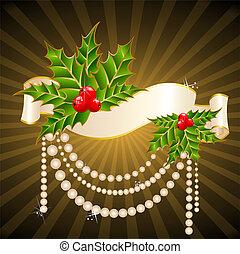 navidad, acebo, adornar
