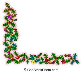 navidad, acebo, esquina, frontera