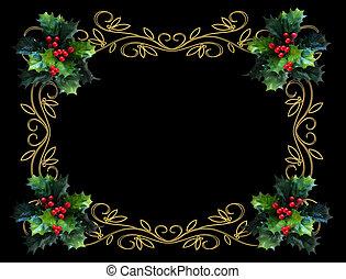 navidad, acebo, frontera, bl