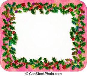 navidad, acebo, frontera, decoración