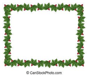 navidad, acebo, frontera, ilustración