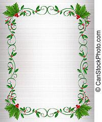navidad, acebo, frontera, ornamental