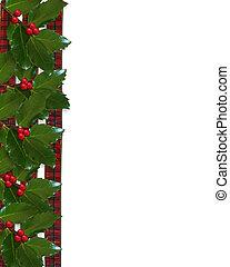 navidad, acebo, y, cintas, frontera