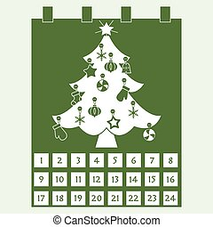 navidad, advenimiento, calendar:, árbol de navidad, con,...