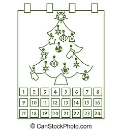 navidad, advenimiento, calendar:, árbol de navidad, con, decorations:, estrellas, calcetín, copos de nieve, mittens.