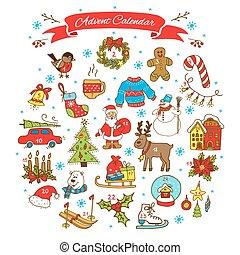 navidad, advenimiento, calendar.