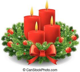 navidad, advenimiento, guirnalda, con, abrasador, velas