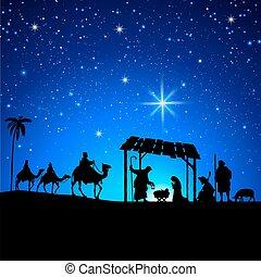 navidad, advenimiento, silueta, escena
