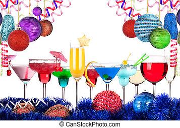 navidad, alcohol, bebidas, conjunto
