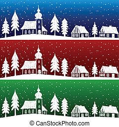 navidad, aldea, con, iglesia, seamless, patrón