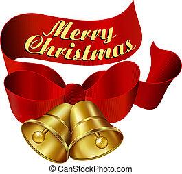 navidad, alegre, campanas