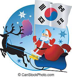 navidad, alegre, sur, korea!