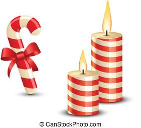 navidad, azucare caña, y, velas