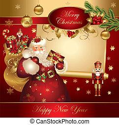 navidad, bandera, con, santa claus
