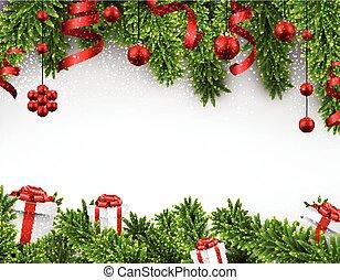 navidad, bandera, picea, branches.