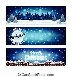 navidad, banderas, con, noche, invierno, cielo