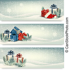 navidad, banderas, invierno, vector., presentes.