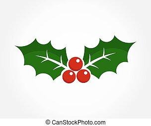 navidad, baya acebo, icono