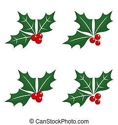 navidad, baya acebo, iconos