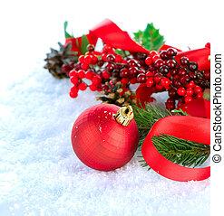 navidad blanca, decoraciones, aislado