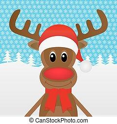 navidad, bosque, reno