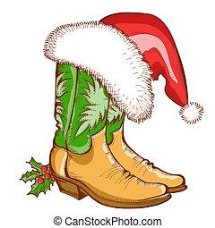 navidad, botas de vaquero, y, santa sombrero